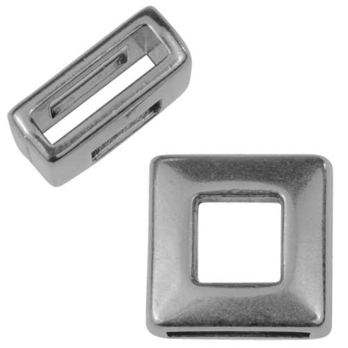 10mm Square Frame Flat Leather Cord Slider - Antique Silver