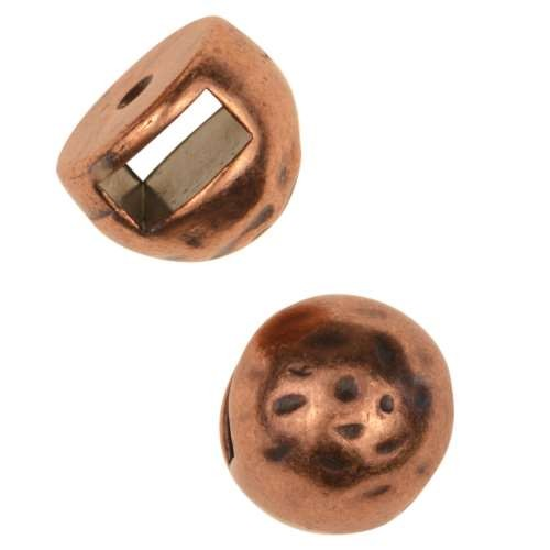 5mm Hammered Stud Flat Leather Cord Slider - Antique Copper