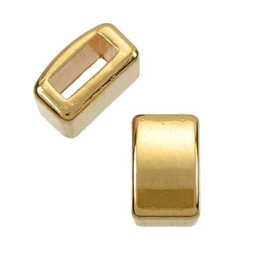 5mm Single Bar Flat Leather Cord Slider - Gold Plated