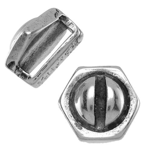 10mm Hexagonal Bolt Flat Leather Cord Slider - Antique Silver