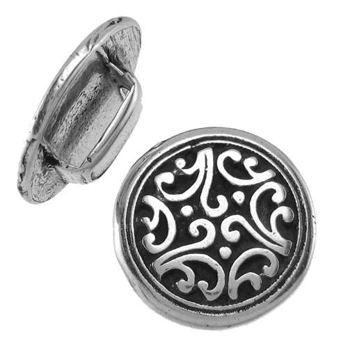 10mm Tibetan Floral Flat Leather Cord Slider - Antique Silver