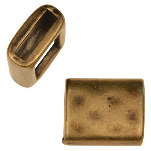 10mm Hammered Rectangle Flat Leather Cord Slider - Antique Brass