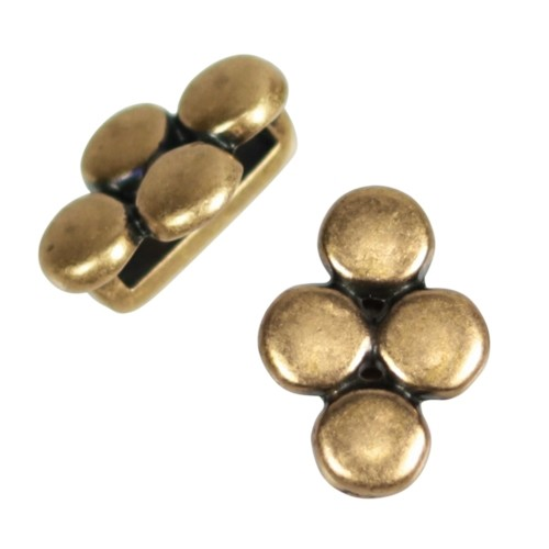 10mm Four Disc Flat Leather Cord Slider - Antique Brass