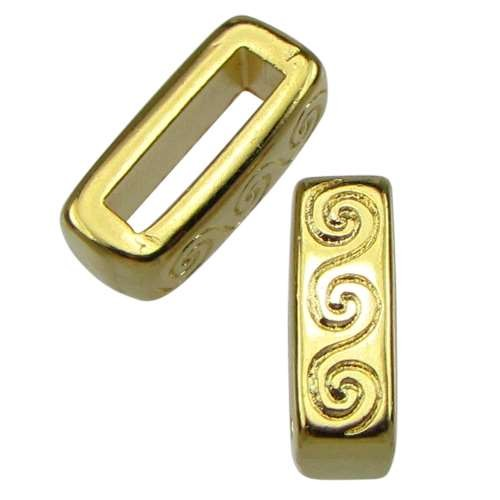 10mm Wave Flat Leather Cord Slider - Gold Plated