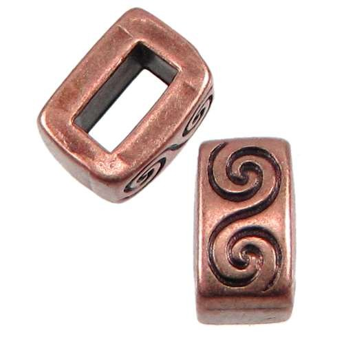 5mm Wave Flat Leather Cord Slider - Antique Copper
