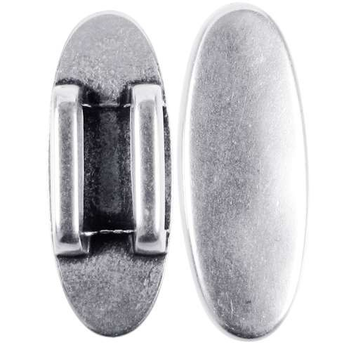 10mm Oval Disc Flat Leather Cord Slider - Antique Silver