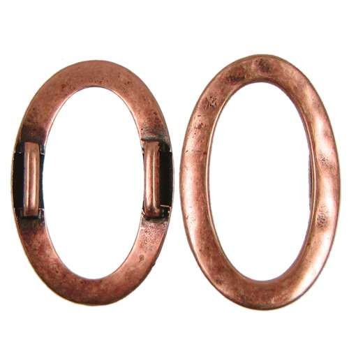 10mm Hammered Oval Ring Flat Leather Cord Slider - Antique Copper