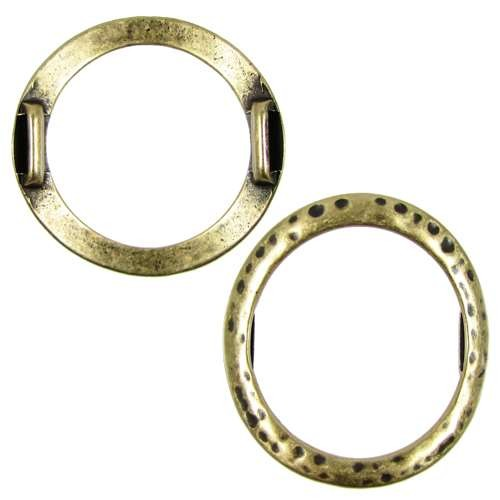 10mm Hammered Round Ring Flat Leather Cord Slider - Antique Brass