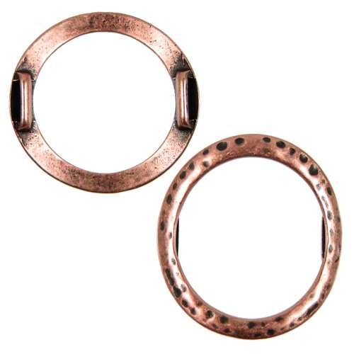 10mm Hammered Round Ring Flat Leather Cord Slider - Antique Copper