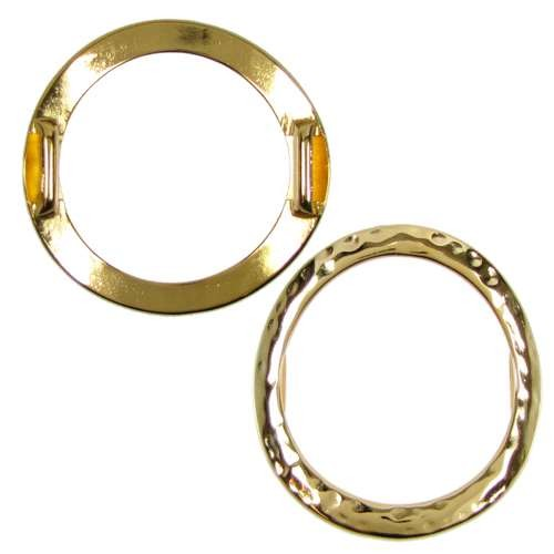 10mm Hammered Round Ring Flat Leather Cord Slider - Gold Plated