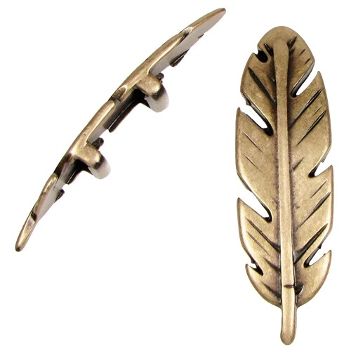 10mm Large Feather Flat Leather Cord Slider - Antique Brass