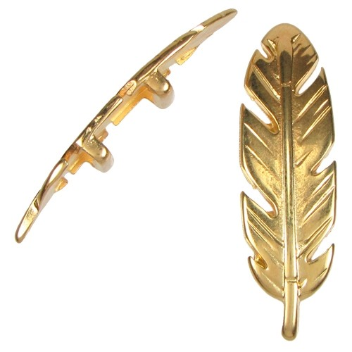 10mm Large Feather Flat Leather Cord Slider - Gold Plated