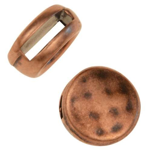 10mm Hammered Round Flat Leather Cord Slider - Antique Copper