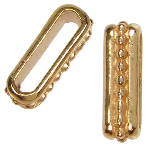10mm Small Dots Flat Leather Cord Slider - Gold Plated