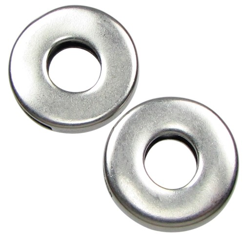 10mm Donut Flat Leather Cord Slider - Antique Silver