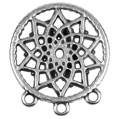 10mm Dreamcatcher Flat Leather Cord Slider - Antique Silver