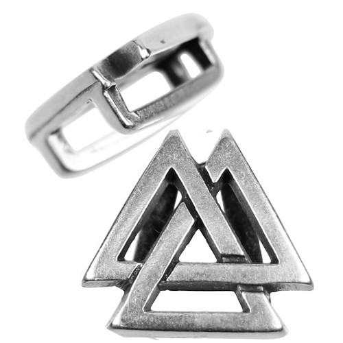 10mm Valknut Flat Leather Cord Slider - Antique Silver