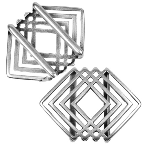 20mm Geometric Squares Flat Leather Cord Slider - Antique Silver