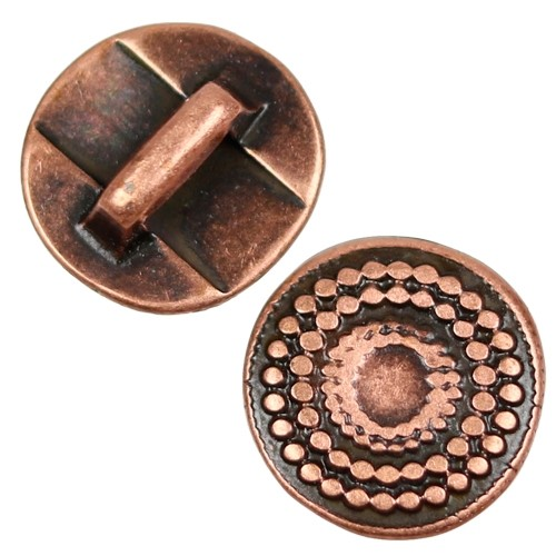 5mm Radiant Circle Flat Leather Cord Slider - Antique Copper