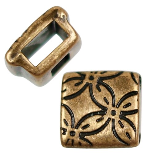 5mm Floral Square Flat Leather Cord Slider - Antique Brass