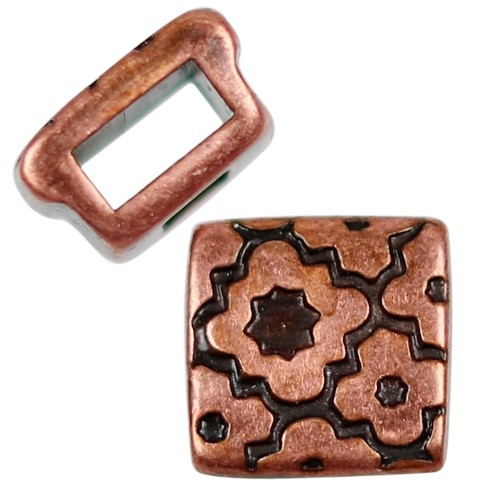 5mm Cross Pattern Square Flat Leather Cord Slider - Antique Copper