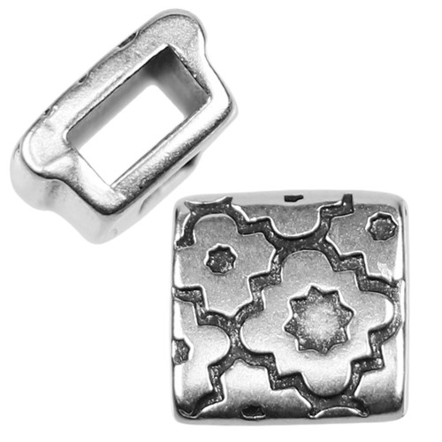 5mm Cross Pattern Square Flat Leather Cord Slider - Antique Silver