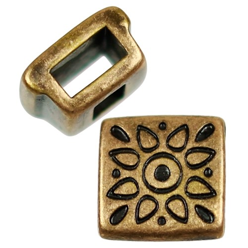 5mm Folk Flower Square Flat Leather Cord Slider - Antique Brass