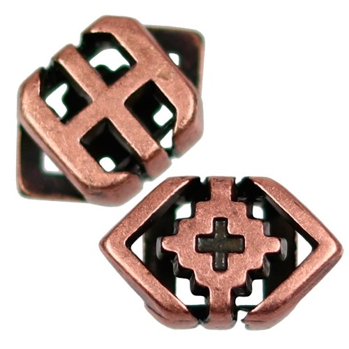 5mm Southwest Rhombus Flat Leather Cord Slider - Antique Copper