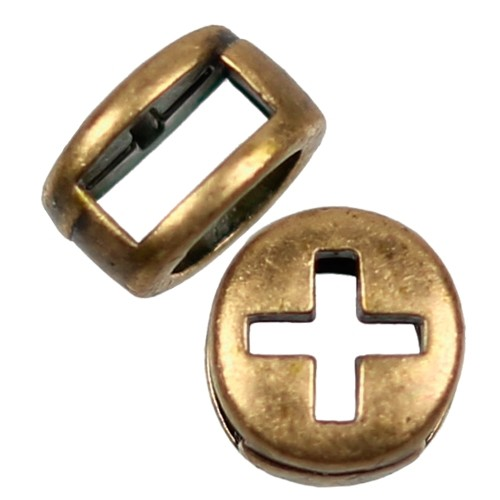 5mm Cross Circle Flat Leather Cord Slider - Antique Brass