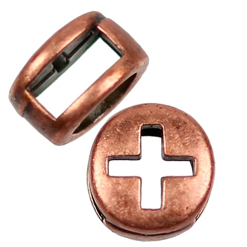 5mm Cross Circle Flat Leather Cord Slider - Antique Copper