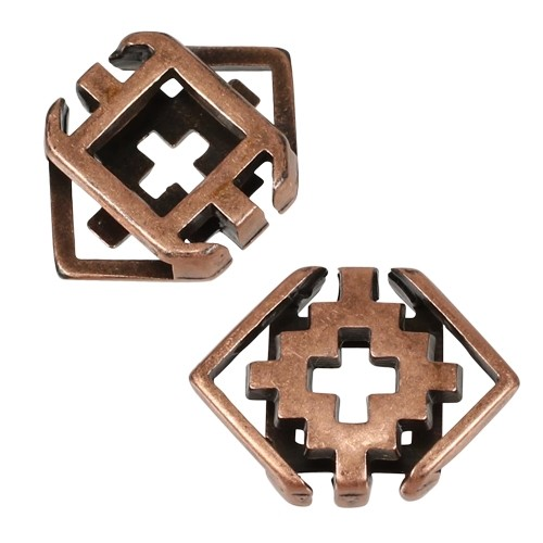 10mm Southwest Rhombus Flat Leather Cord Slider - Antique Copper