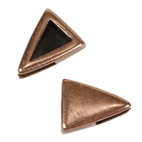 5mm Plain Triangle Flat Leather Cord Slider - Antique Copper