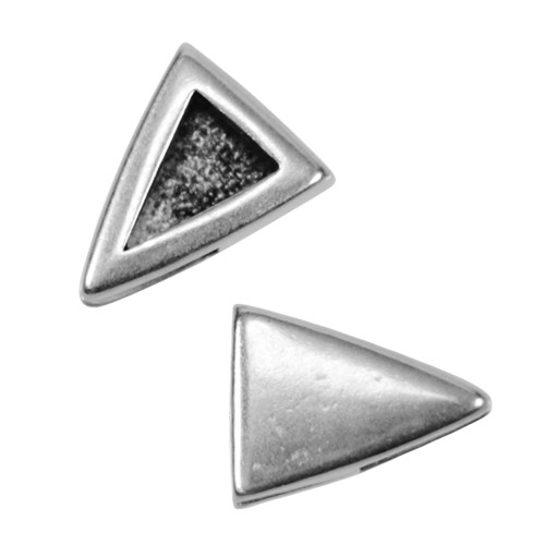 5mm Plain Triangle Flat Leather Cord Slider - Antique Silver