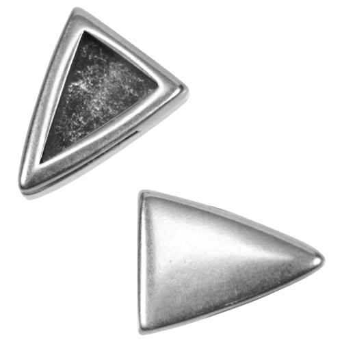 10mm Plain Triangle Flat Leather Cord Slider - Antique Silver