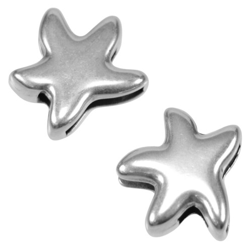 10mm Starfish Flat Leather Cord Slider - Antique Silver