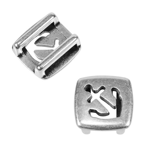 10mm Square Anchor Flat Leather Cord Slider - Antique Silver