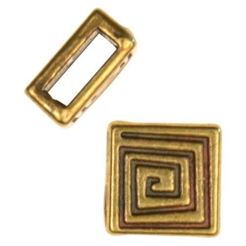 5mm Mini Coil Square Flat Leather Cord Slider - Antique Brass