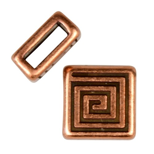 5mm Mini Coil Square Flat Leather Cord Slider - Antique Copper