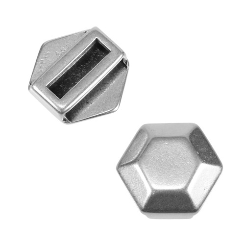15mm Hexagon Flat Leather Cord Slider - Antique Silver
