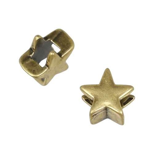 3mm flat STAR slider ANT BRASS