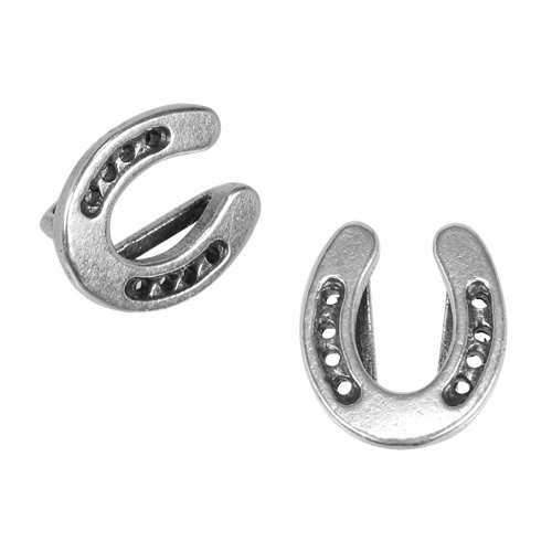 10mm Flat Horseshoe Slider - Antique Silver