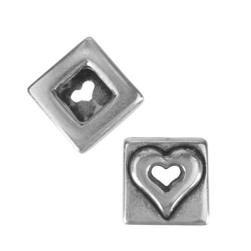10mm Flat Leather Cord SQUARE HEART slider ANT SILVER