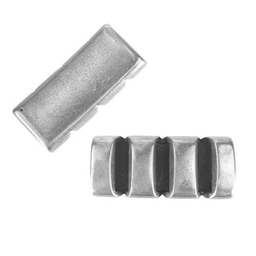 10mm Flat Leather Cord CUT OUT BAR slider ANT SILVER