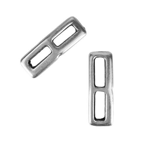 5mm Flat Double Angled Bar Slider - Antique Silver