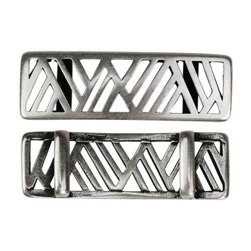 10mm flat GEOMETRIC MOUNTAINS slider ANTIQUE SILVER