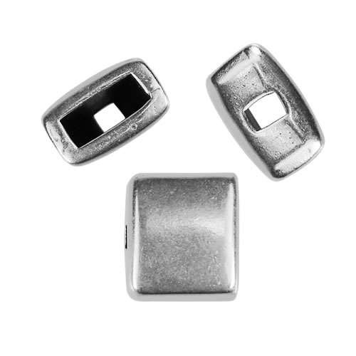 5mm flat SINGLE HOLE BRIDGE BEAD slider ANT SILVER