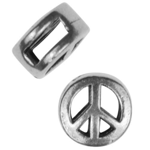 5mm Mini Peace Sign Flat Leather Cord Slider - Antique Silver