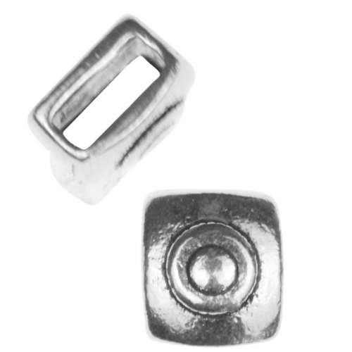 5mm Mini Target Square Flat Leather Cord Slider - Antique Silver