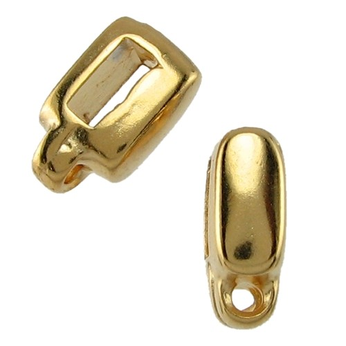 5mm Mini Charm Holder Flat Leather Cord Slider - Gold Plated