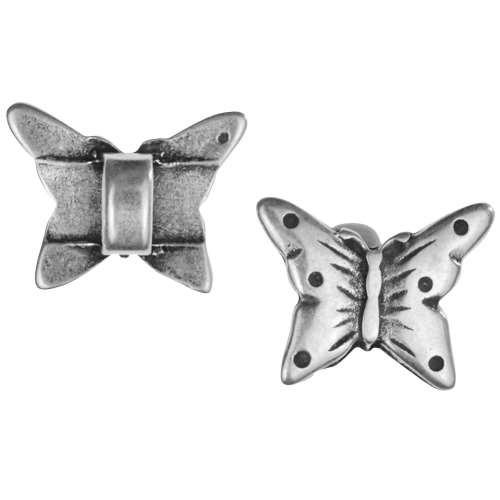 5mm Mini Butterfly Flat Leather Cord Slider - Antique Silver